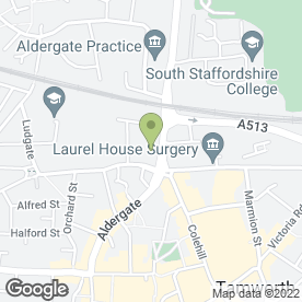 Map of Crown Medical Practice in Tamworth, staffordshire