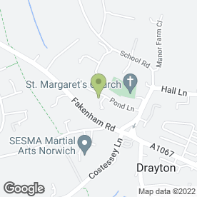 Map of Drayton Village Pre-School in Drayton, Norwich, norfolk