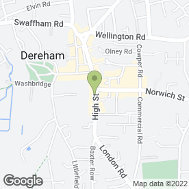 Map of Jobcentre Plus in Dereham, norfolk