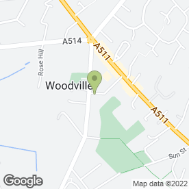 Map of D.J Moore Joinery & Furniture in Woodville, Swadlincote, derbyshire