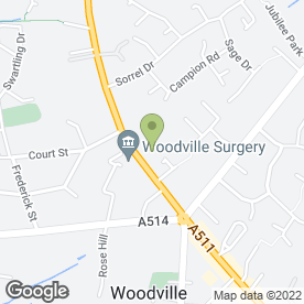 Map of Woodville Surgery in Woodville, Swadlincote, derbyshire