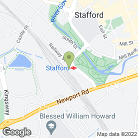 Map of Stafford Railway Station in Stafford, staffordshire