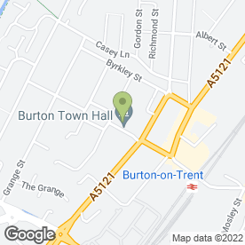 Map of Weddings at Burton Town Hall in Burton-On-Trent, staffordshire