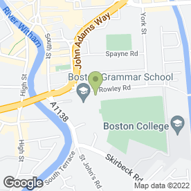 Map of Boston Grammar School in Boston, lincolnshire