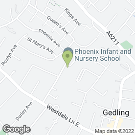 Map of Phoenix Infant & Nursery School in Gedling, Nottingham, nottinghamshire