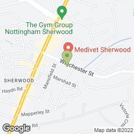 Map of Arnwood Veterinary Clinics Ltd in Sherwood, Nottingham, nottinghamshire