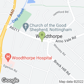 Map of Tomkins Florists in Woodthorpe, Nottingham, nottinghamshire