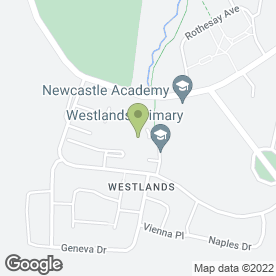Map of Westlands Primary School in Westlands, Newcastle, staffordshire