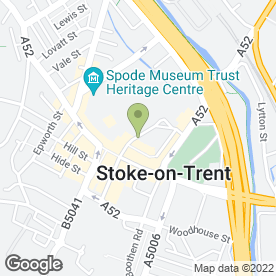 Map of Potteries Venues in Stoke-On-Trent, staffordshire