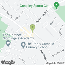 Map of Hilltop Florist (Barretts) in Eastwood, Nottingham, nottinghamshire