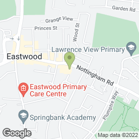 Map of The Co-operative Travel in Eastwood, Nottingham, nottinghamshire