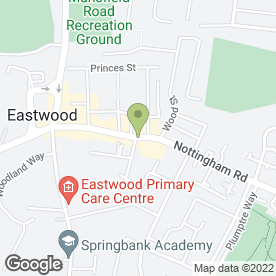 Map of Greggs in Eastwood, Nottingham, nottinghamshire