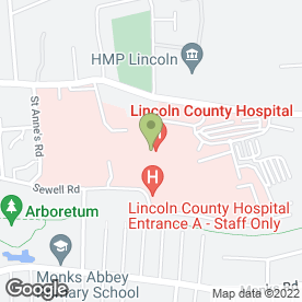 Map of County Hospital Day Nursery in Lincoln, lincolnshire