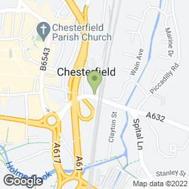 Map of The Riverside in Chesterfield, derbyshire
