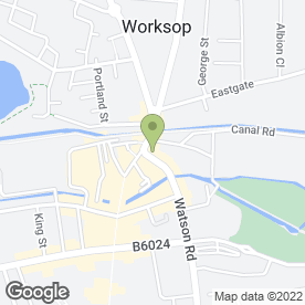 Map of The Whitehouse Physiotherapy Group in Worksop, nottinghamshire