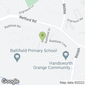 Map of Ballifield Fry in Sheffield, south yorkshire