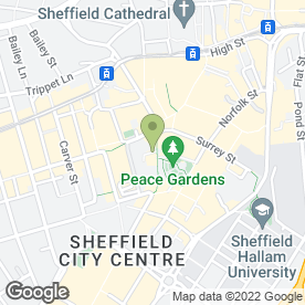 Map of Thomson Bureaux de Change in Sheffield, south yorkshire