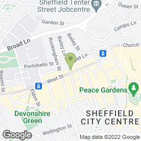 Map of The Basement Bar in Sheffield, south yorkshire