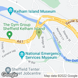Map of Europcar Car Rental in Sheffield, south yorkshire