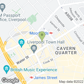 Map of Jupiters in Liverpool, merseyside