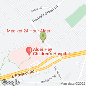 Map of Alder Veterinary Hospital in West Derby, Liverpool, merseyside