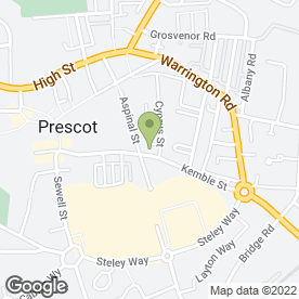Map of Abbey Kitchens in Prescot, Liverpool, merseyside