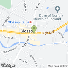 Map of The White Showroom in GLOSSOP, derbyshire