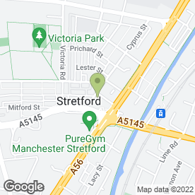 Map of Trafford & Salford Association for Spina Bifida & Hydrocephalus in Stretford, Manchester, lancashire