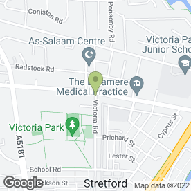 Map of Victoria Rd Day Nursery in Stretford, Manchester, lancashire