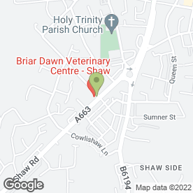 Map of Briar Dawn Veterinary Centre Ltd in Shaw, Oldham, lancashire