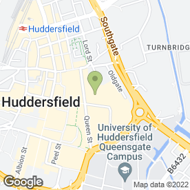 Map of O2 in Huddersfield, west yorkshire