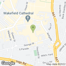 Map of Esquires Mall Cafe in Wakefield, west yorkshire