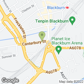 Map of Canterbury Street MOT Centre in Blackburn, lancashire