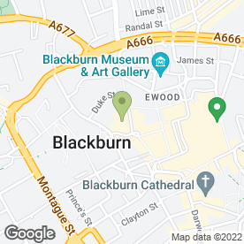 Map of King George's Hall in Blackburn, lancashire
