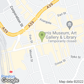 Map of Brook Street in Preston, lancashire