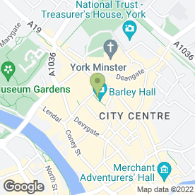 Map of Barley Hall in York, north yorkshire