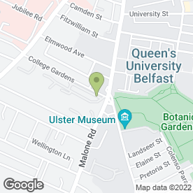 Map of Deanes At Queens in Belfast, county antrim