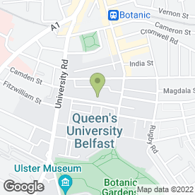 Map of Queen's Film Theatre in Belfast, county antrim