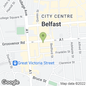 Map of Churchills Exclusive Drycleaners in Belfast, county antrim