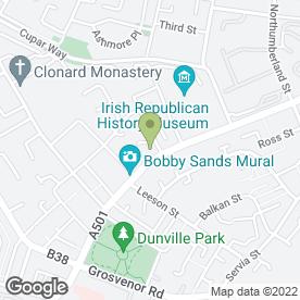 Map of Cadenza Music School in Conway Street, county antrim