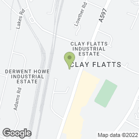 Map of Howdens Joinery Co in Clay Flatts Industrial Estate, Workington, cumbria