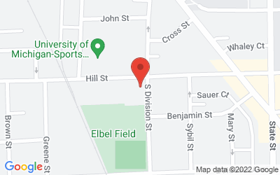 Map of 336 Hill St, Ann Arbor, MI 48104-0