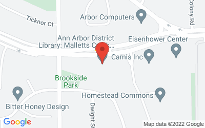 Map of Ann Arbor District Library, Mallett's Creek Branch, Eisenhower Parkway, Ann Arbor. Details: 734.327.4555