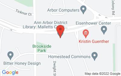 Map of Ann Arbor District Library Malletts Creek Branch, 3090 E. Eisenhower (between Stone School & Packard).