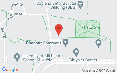Map of Arthur Miller Theatre, University of Michigan (North Campus), 1226 Murfin Avenue, Ann Arbor, MI  48109