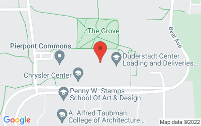 Map of Duderstadt Center Gallery, University of Michigan North Campus, 2281 Bonisteel Boulevard, Ann Arbor, MI 48109