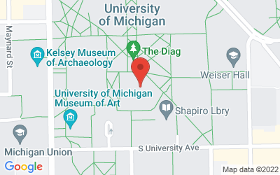 Map of Hatcher Library Gallery, Room 100, 913 S. University Avenue, Ann Arbor, MI 48109