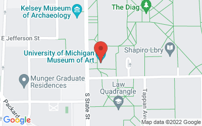 Map of Helmut Stern Auditorium, University of Michigan Museum of Art, 525 S. State, Ann Arbor.