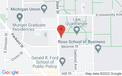 Map of Hutchins Hall 100, U-M Law School, 625 S. State St., Ann Arbor, MI 48109