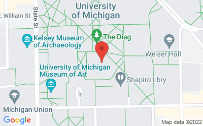 Map of Library Gallery, Room 100, Harlan Hatcher Graduate Library, 920 N. University, Ann Arbor, Michigan